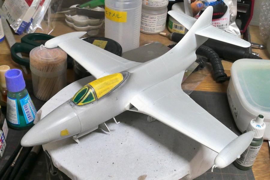 GRUMMAN F9F-2P PANTHER RECONNAISSANCE TRUMPETER 1/48 PAINTING