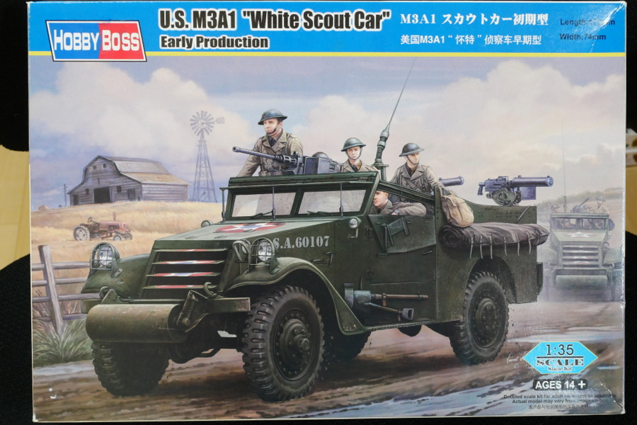 U.S. M3A1 WHITE SCOUT CAR EARLY PRODUCTION HOBBY BOSS 1/35 BOX PACKAGE