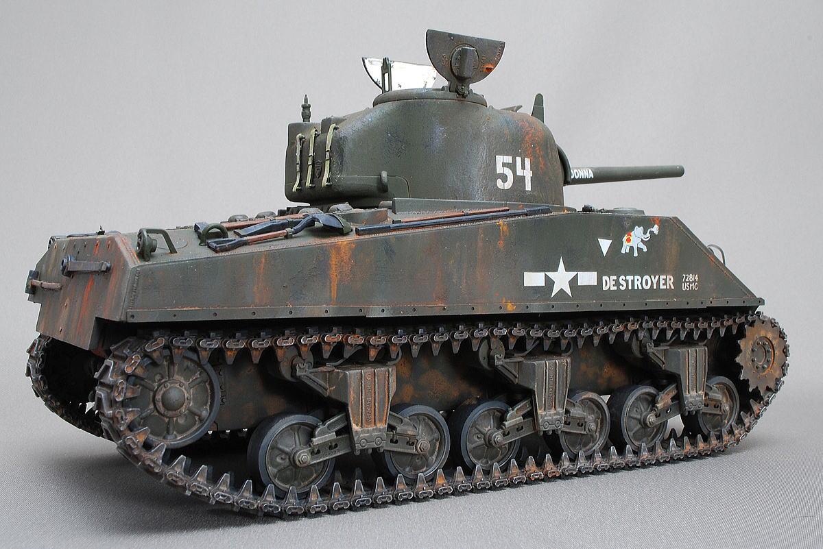 M4A2シャーマン戦車 ドラゴン 1/35 完成写真 M4A2はディーゼルエンジン搭載