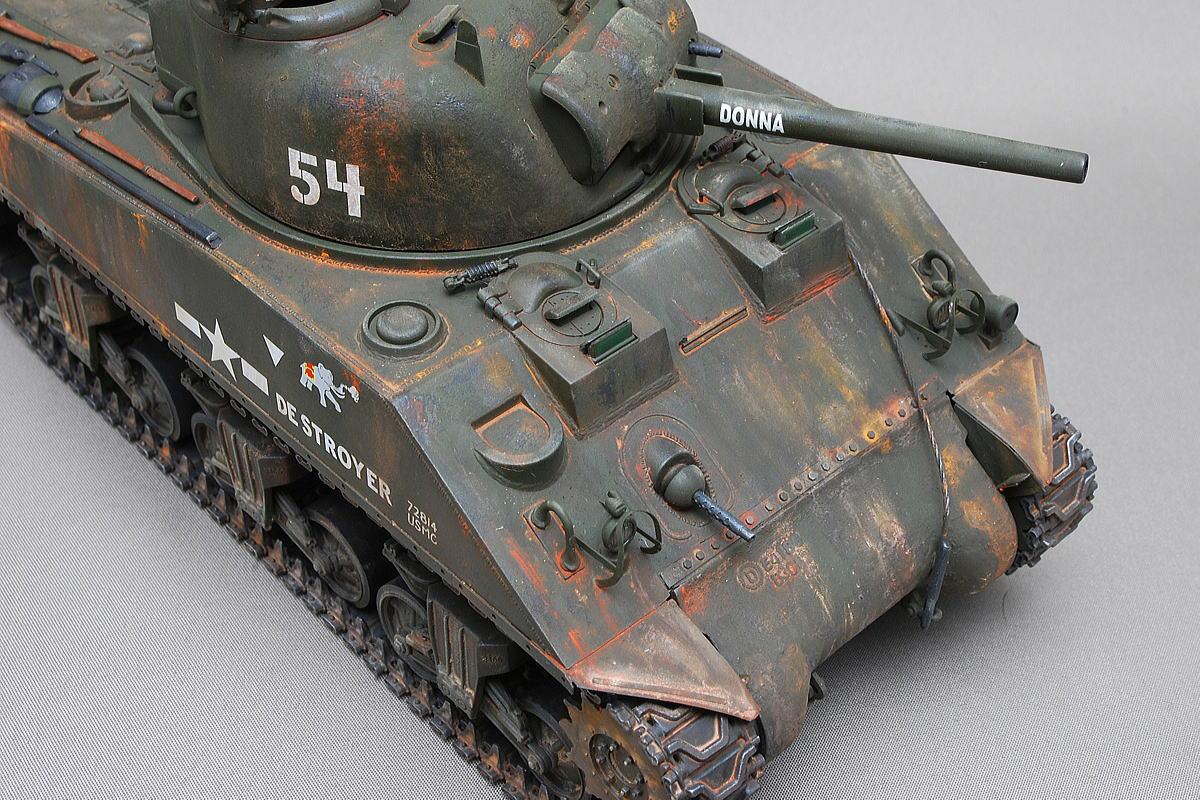 M4A2シャーマン戦車 ドラゴン 1/35 完成写真 ウェザリングをやり過ぎた