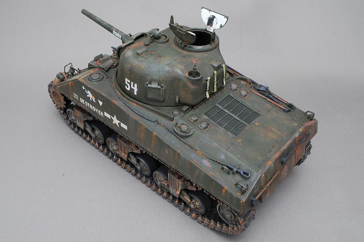 M4A2シャーマン戦車 ドラゴン 1/35 完成写真 ハッチは仮留め