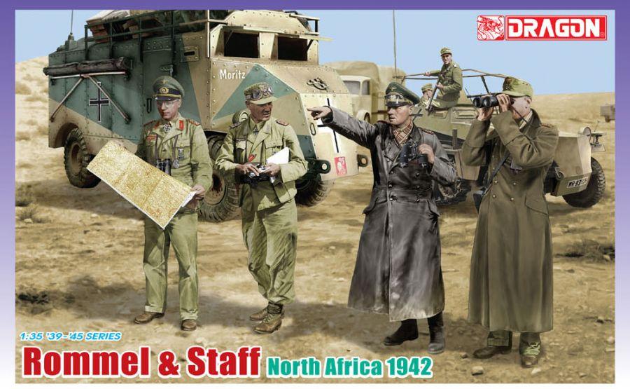 WWII ドイツ軍 砂漠の狐 ドイツアフリカ軍団 ロンメル将軍&将校 北アフリカ 1942 ドラゴン 1/35 組立