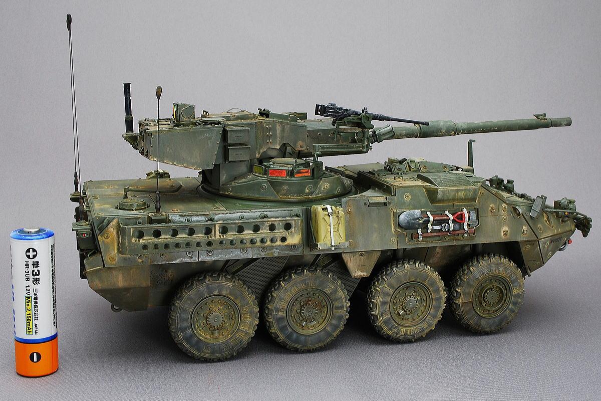 M1128 MGSストライカー AFVクラブ 1/35 完成写真 迫撃砲搭載車、工兵車、野戦救急車、対戦車ミサイル搭載車、偵察車等