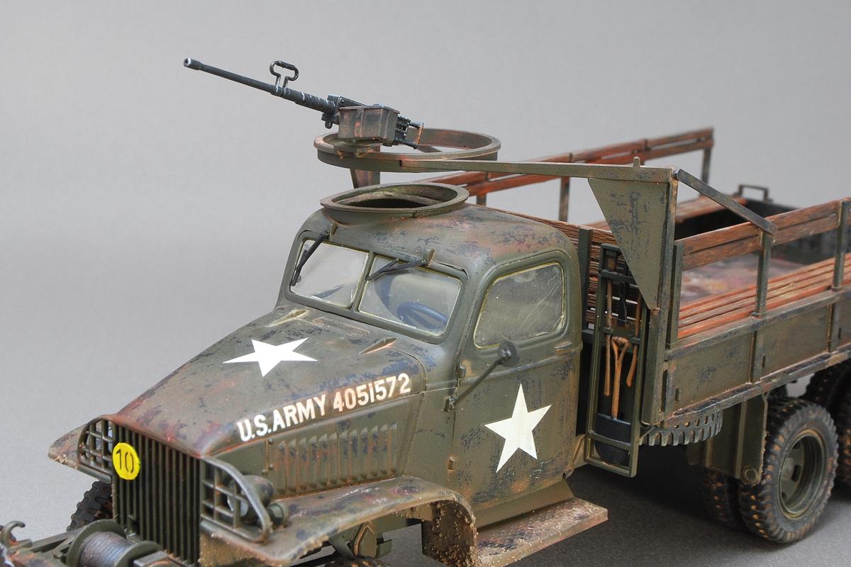2.5トン カーゴトラック 6 x 6 イタレリ 1/35 完成写真 ルーフ上にM2重機関銃